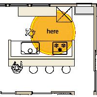 箕面市注文住宅キッチンの平面図
