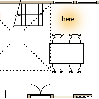 箕面市K様邸注文住宅、ダイニングの平面図